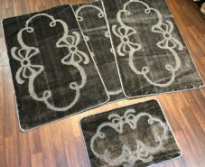 ROMANY MATS WASHABLE FULL SET OF MATS/RUGS 75X125CM SIZE NON SLIP CHARCOAL GREY